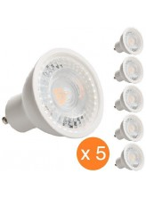 Pack de 5 spots led GU10 7 watt - finition blanche | Led Flash