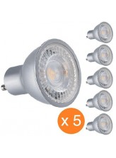 Pack de 5 spots led GU10 COB 7 watt - finition grise | Led Flash
