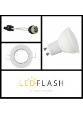 Kit LED GU10 5W (eq. 50W) - Support blanc | Led-Flash