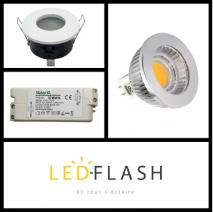 Kit spot LED étanche GU5.3 COB 5 watt (eq. 50 watt)