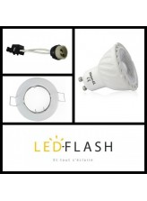 Kit spot led GU10 COB 5 watt (eq. 45 watt) - Support blanc