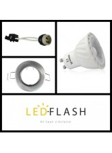 Kit LED GU10 COB 5W - Support gris | Led-Flash