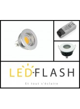 Kit spot LED étanche GU5.3 COB Dimmable Support Blanc | Led-Flash