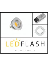 Kit spot led GU5.3 COB 4 watt Dimmable - Support Rond Fixe Blanc | Led-Flash